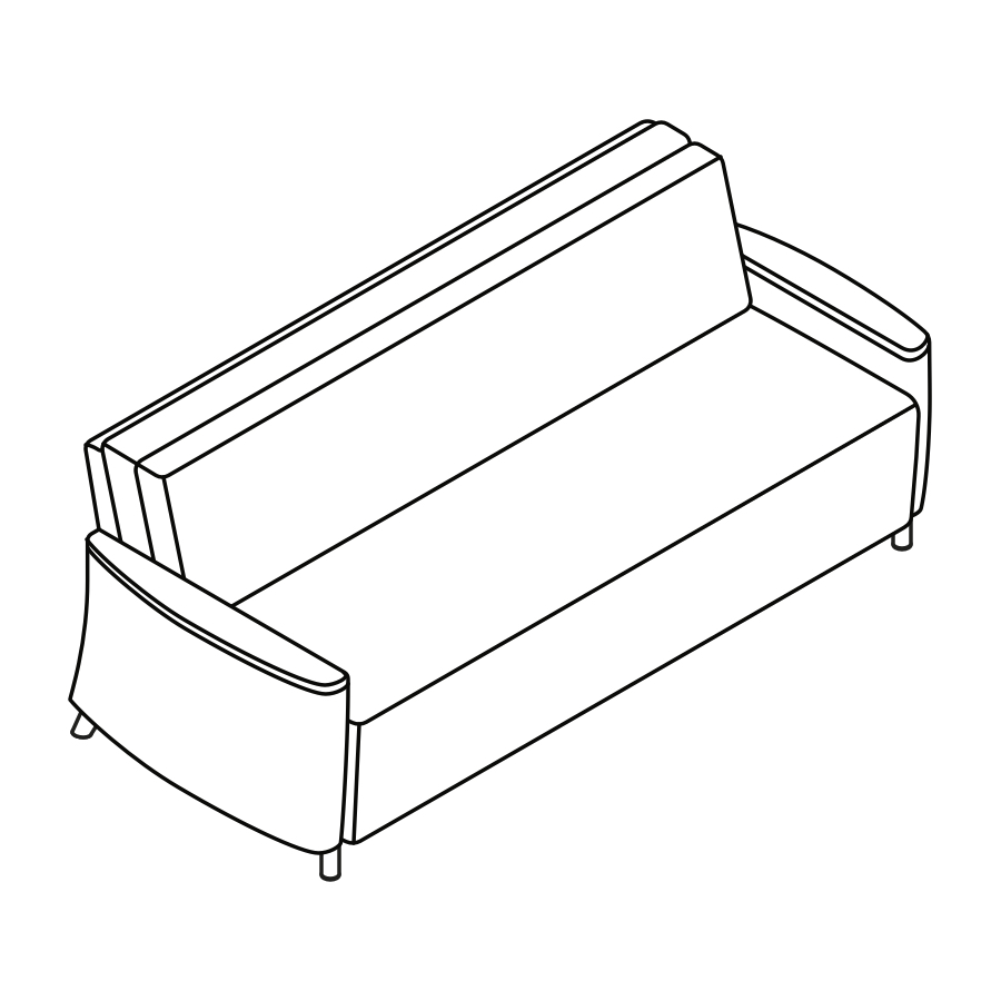 A line drawing of Pamona Flop Sofa