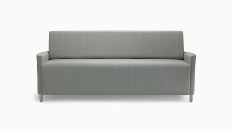 A Pamona Flop Sofa in gray textile with metal legs.
