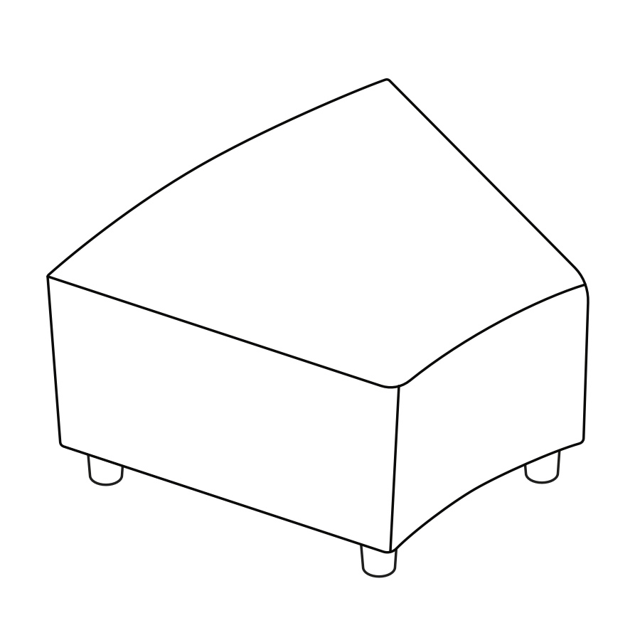 A line drawing of Steps Bench–Inside Wedge