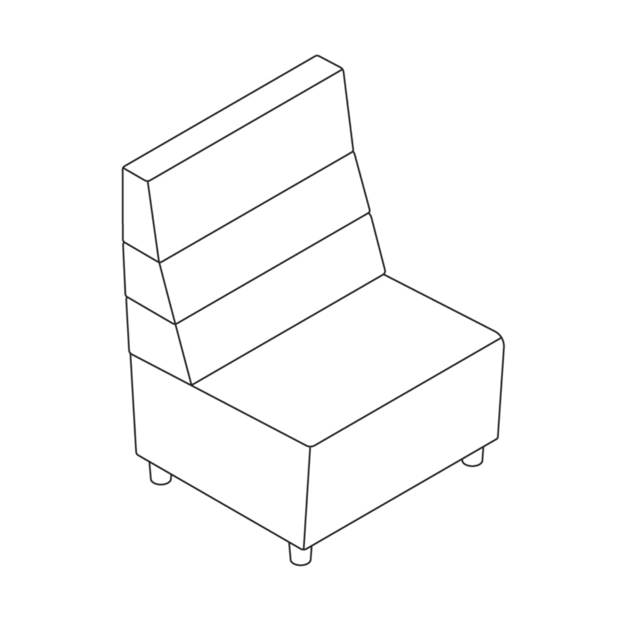 A line drawing of Steps Straight Seat–High Back–Armless