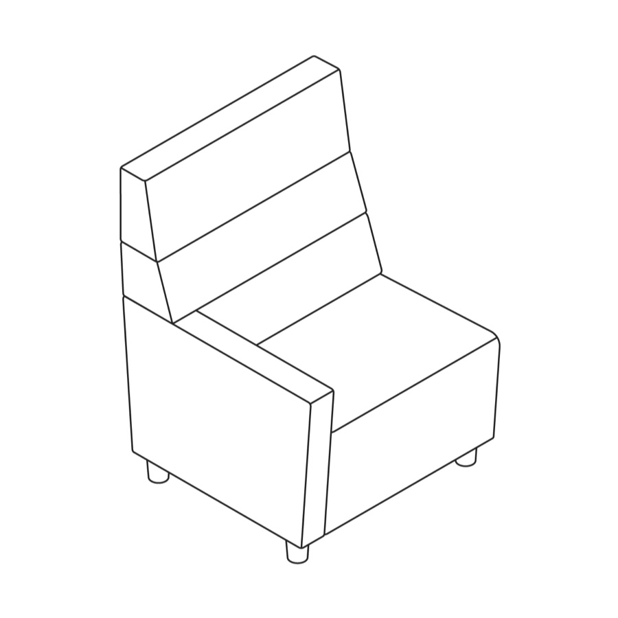 A line drawing of Steps Straight Seat–High Back–Left Arm