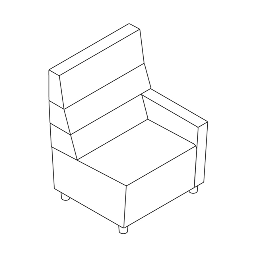 A line drawing of Steps Straight Seat–High Back–Right Arm