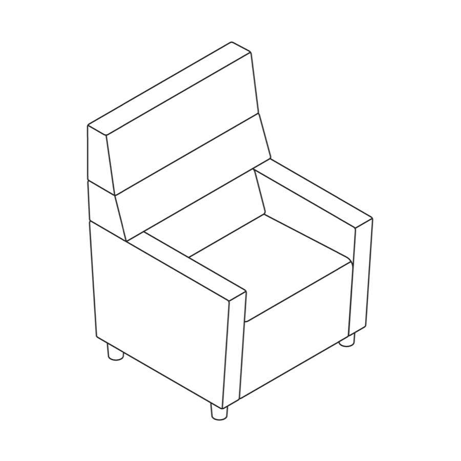 A line drawing of Steps Straight Seat–High Back–With Arms