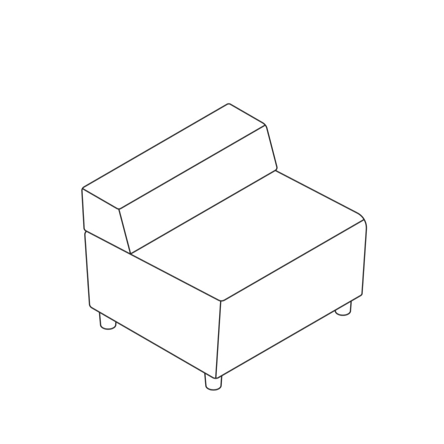 A line drawing of Steps Straight Seat–Low Back–Armless