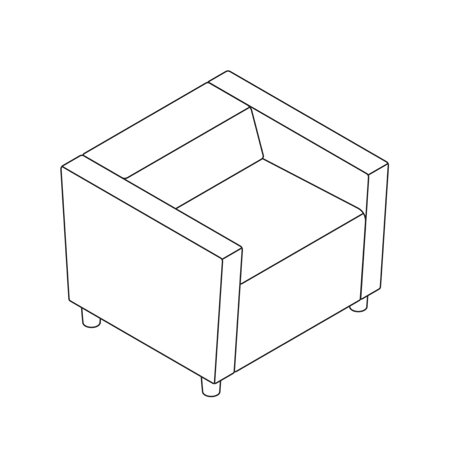 A line drawing of Steps Straight Seat–Low Back–With Arms