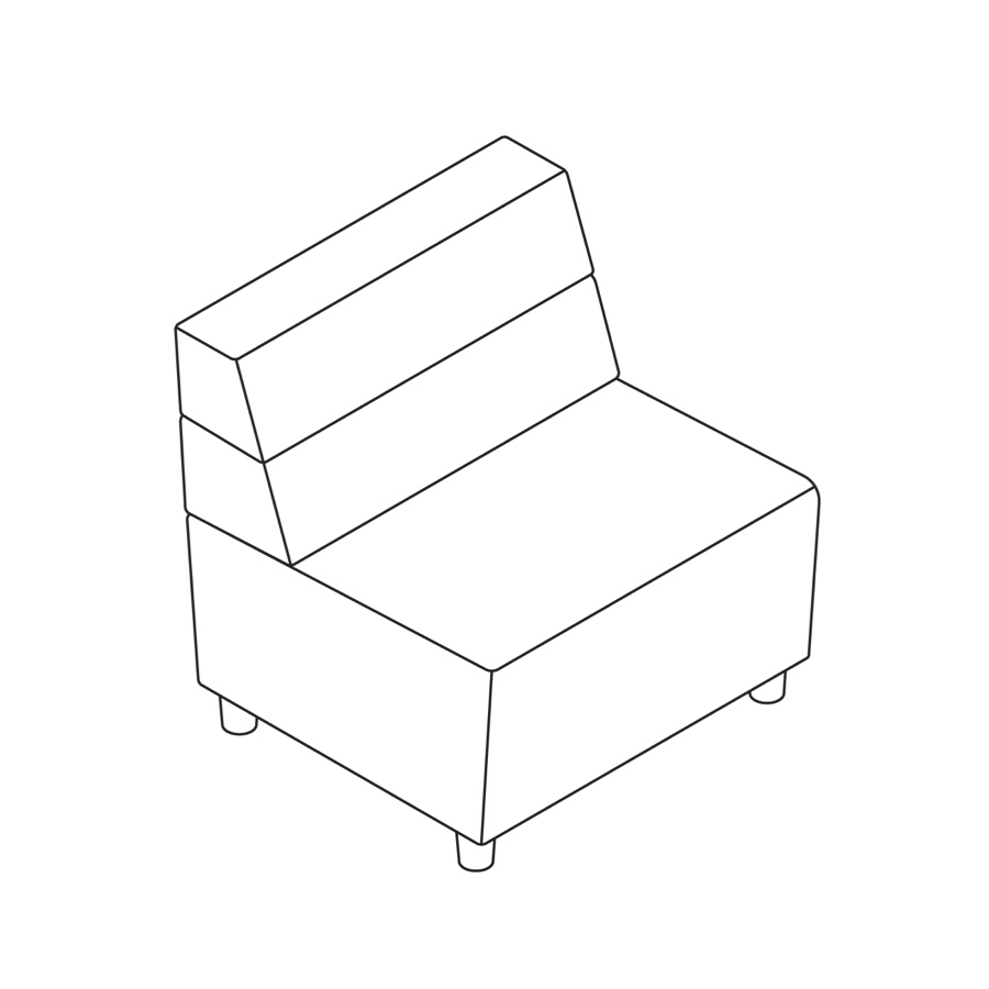 A line drawing of Steps Straight Seat–Mid Back–Armless