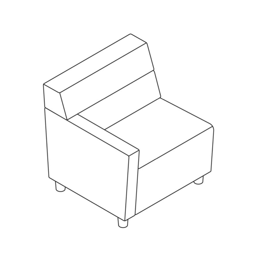 A line drawing of Steps Straight Seat–Mid Back–Left Arm