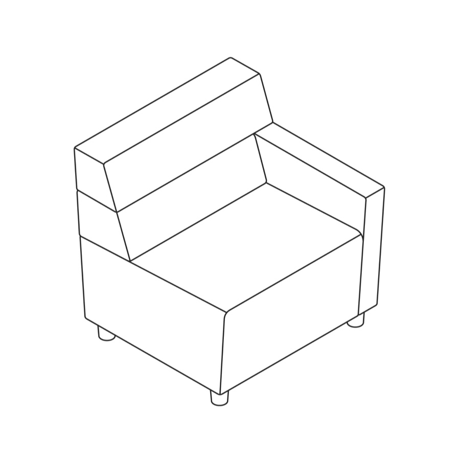 A line drawing of Steps Straight Seat–Mid Back–Right Arm