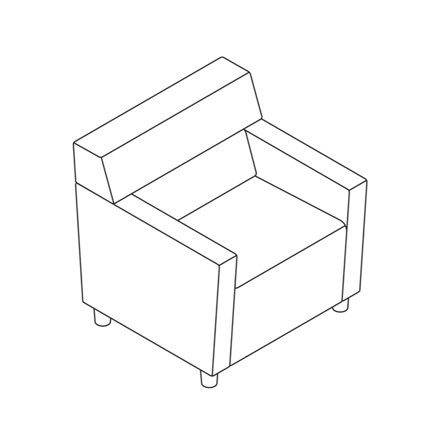 A line drawing of Steps Straight Seat–Mid Back–With Arms