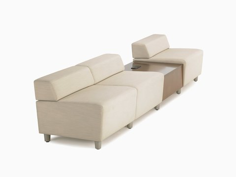 A low-back Steps Lounge System in a light-colored textile.