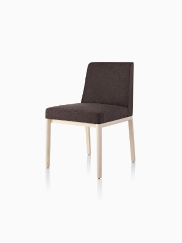 Black Nessel Chair without arms, viewed from the front at an angle.
