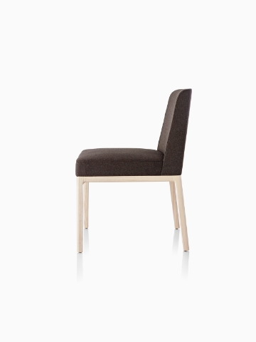 Black Nessel Chair without arms, viewed from the side.