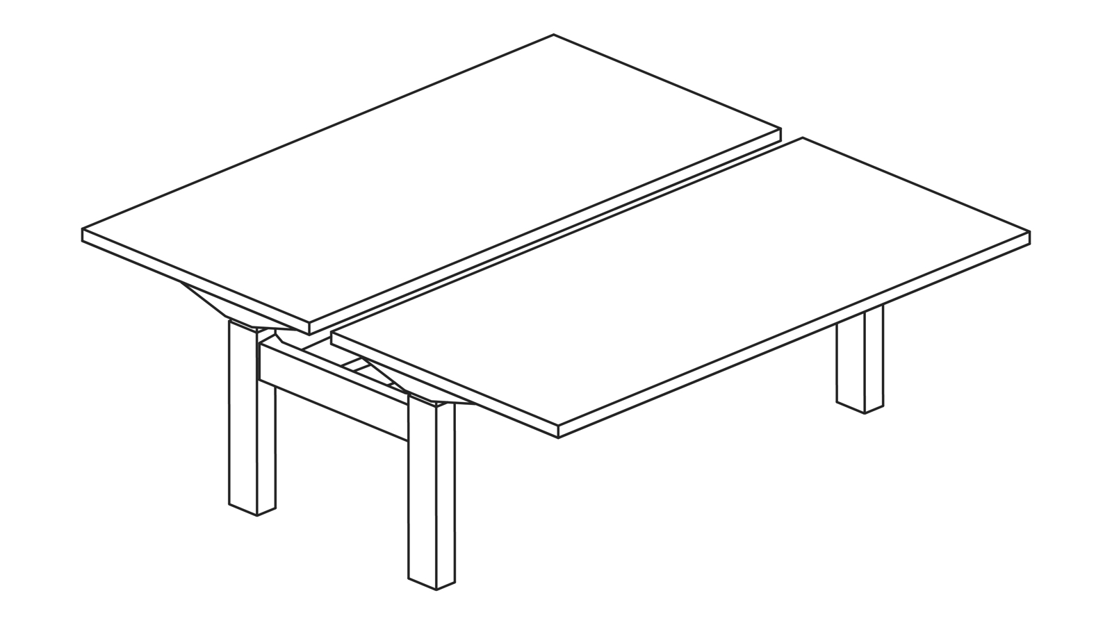 A line drawing of a Nevi Link standing desk system with two back-to-back rectangular work surfaces. Both desks are at sitting height.