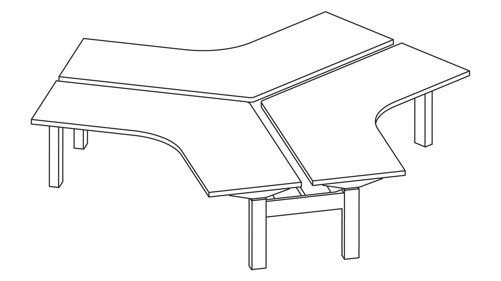 A line drawing of a Nevi Link standing desk system with three 120-degree work surfaces. All desks are at sitting height.