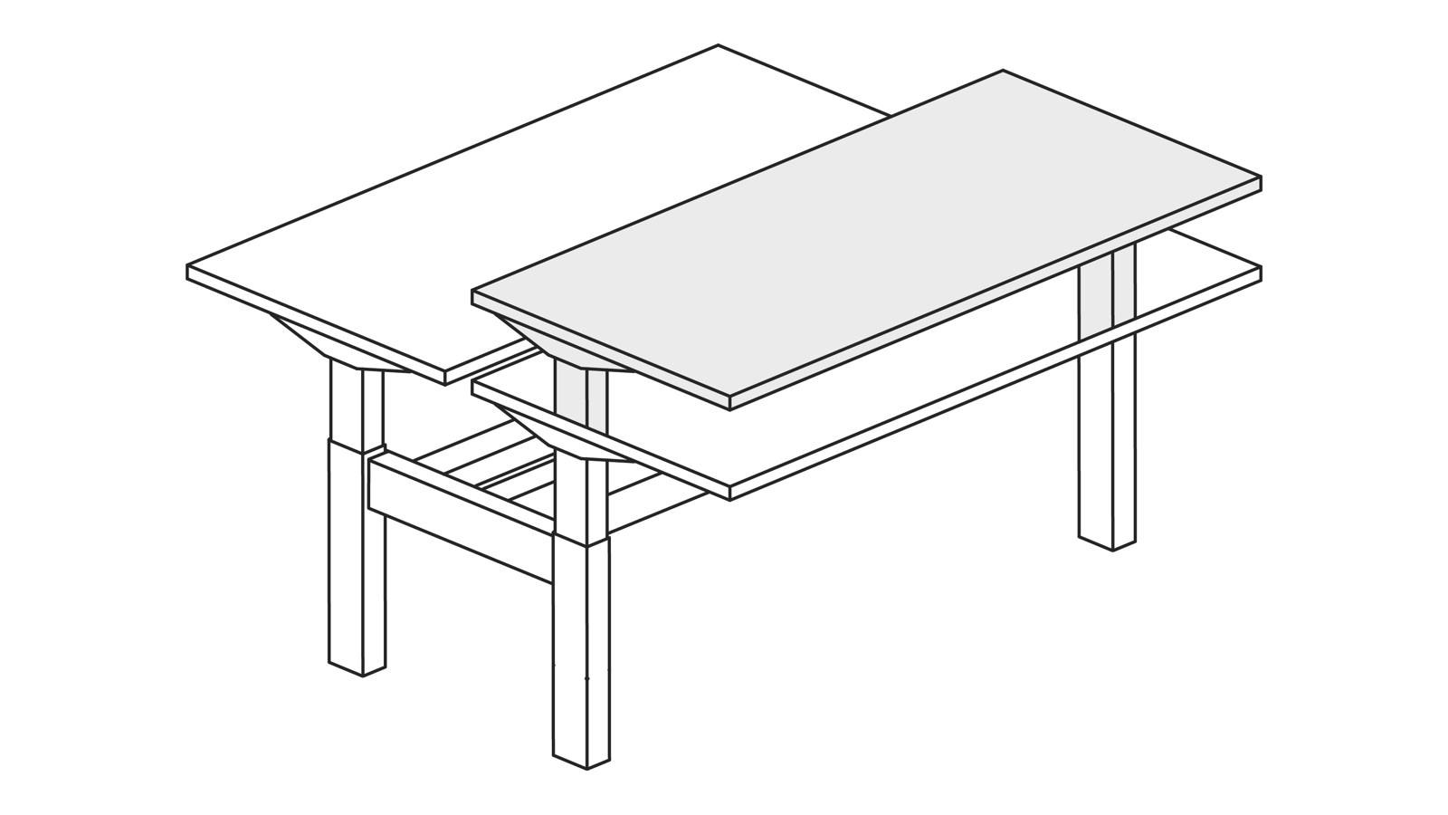 A line drawing of a Nevi Link standing desk system with back-to-back rectangular work surfaces. One of the desks is raised to standing height.
