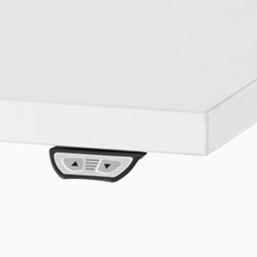 A close-up view of Nevi Link standing desk system's simple touch switch.