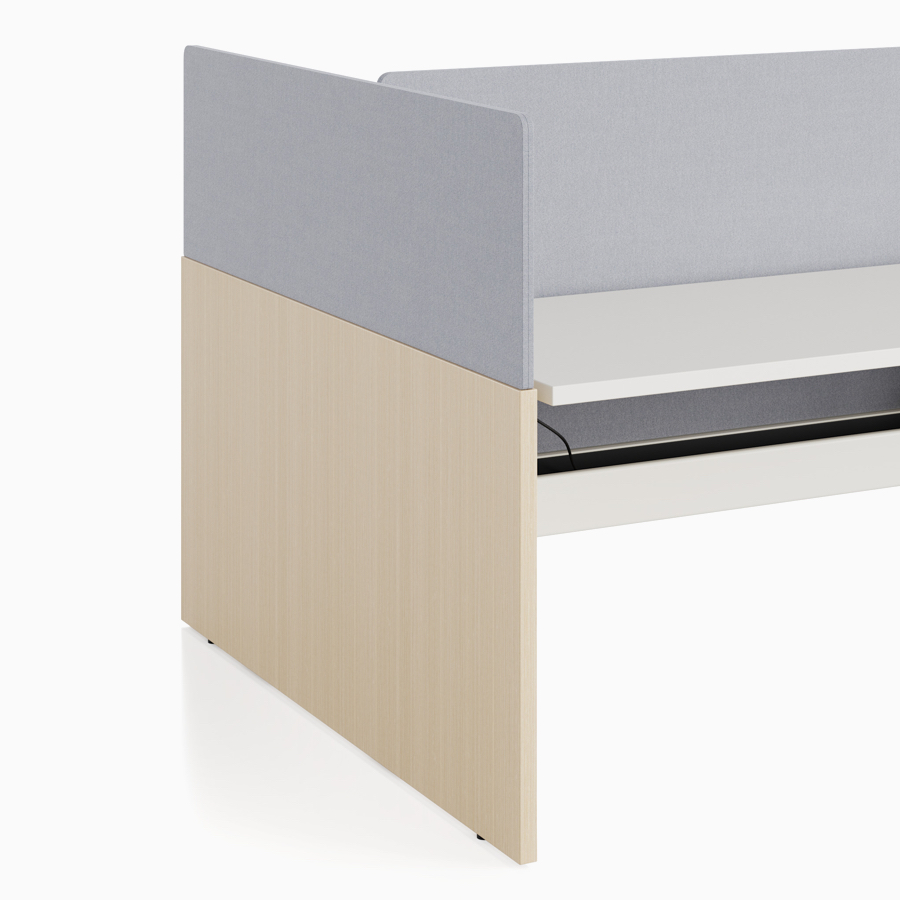 A close-up view of Nevi Link standing desk system's gray end-of-run screen.