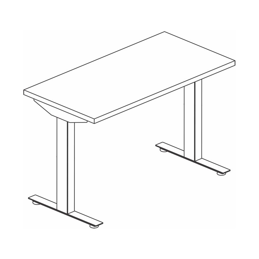 A line drawing of a Nevi Sit-Stand Desk.