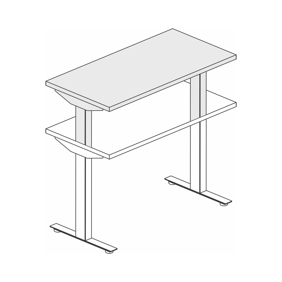 A line drawing of a Nevi Sit-Stand Desk extended to its maximum standing height.