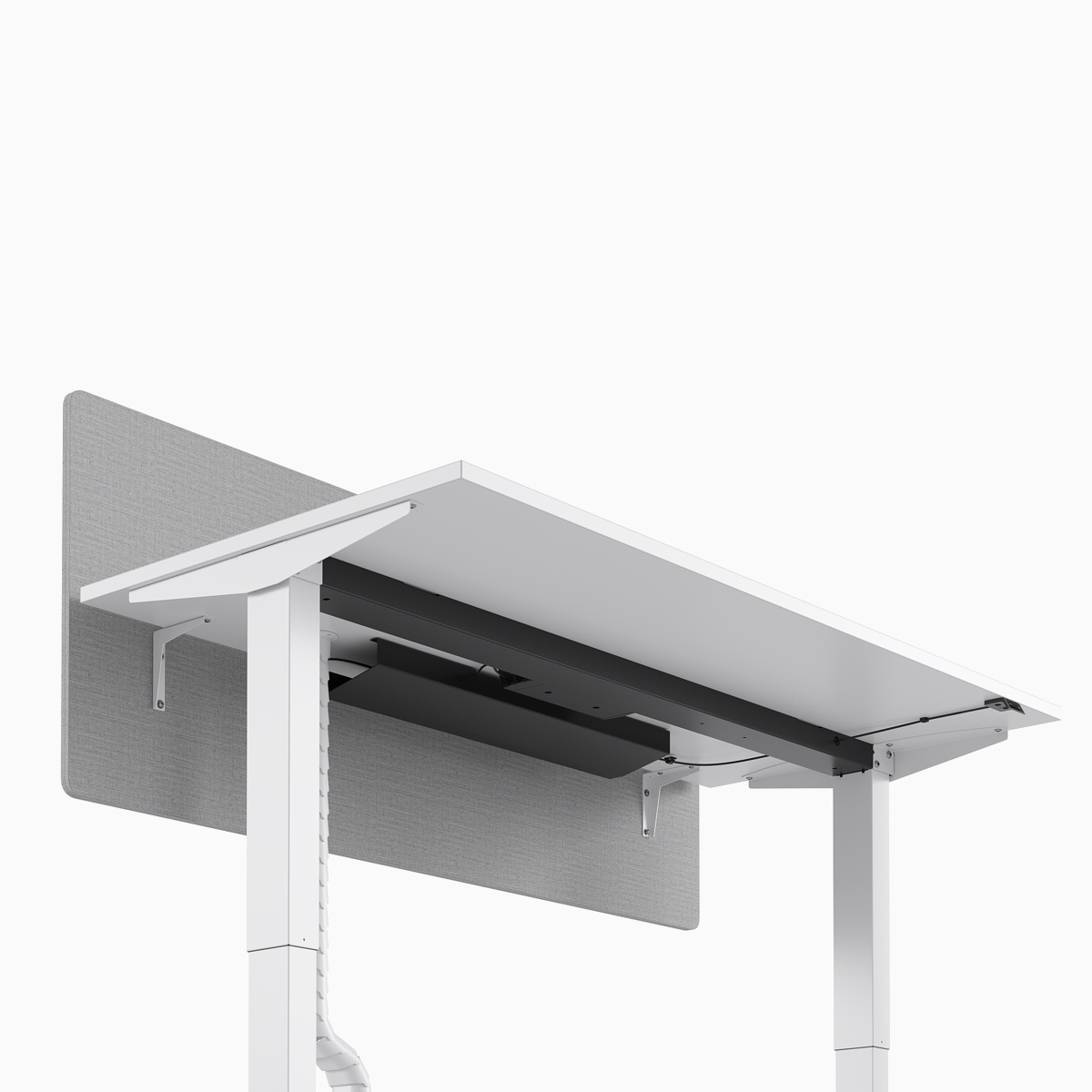 A close-up view of the under structure of a Nevi Sit-Stand Desk.