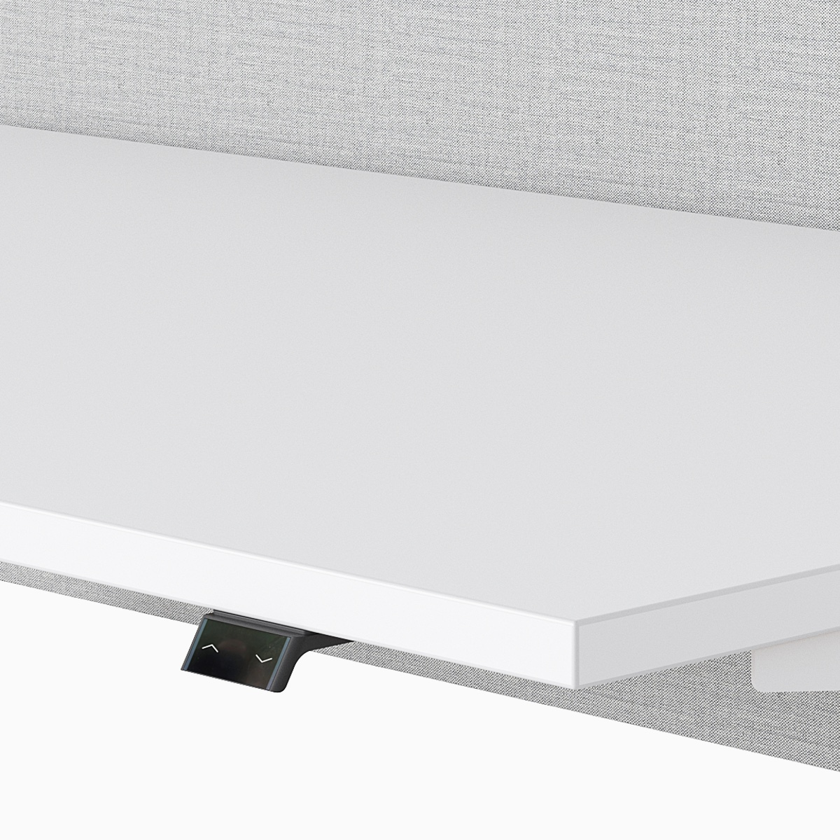 A close-up view of Nevi Sit-Stand Desk's switch that adjusts height.