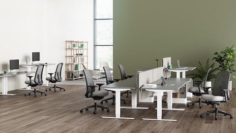 An office environment with Nevi Sit-Stand Desks positioned at varying heights with grey Lino Chairs providing seating.