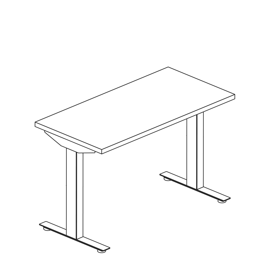 A line drawing of a Nevi standing desk.