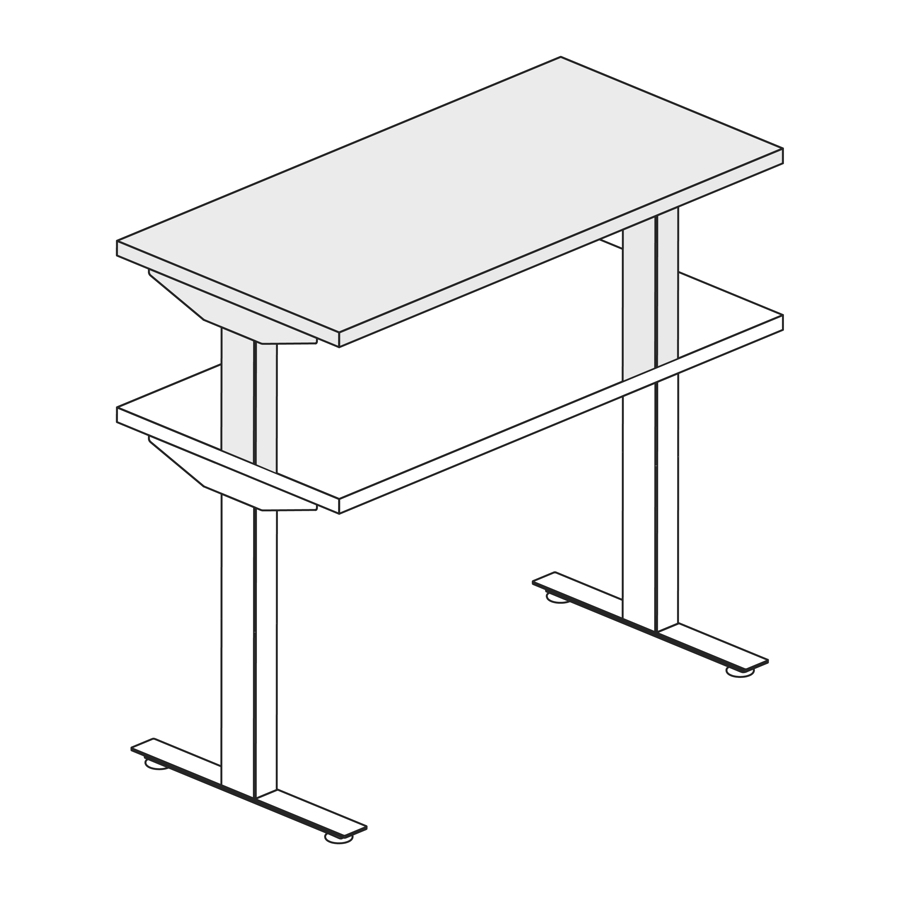 A line drawing of a Nevi standing desk extended to its maximum standing height.