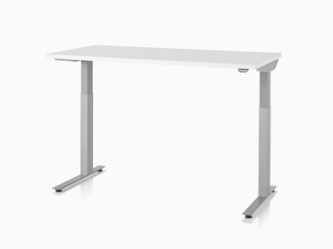 A white Nevi Sit-to-Stand Table with silver legs, positioned at standing desk height.