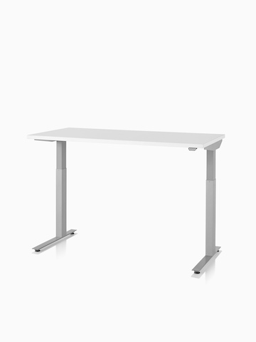 A Nevi standing desk with a white surface and silver legs. Select to go to the Nevi Sit-to-Stand Tables product page.