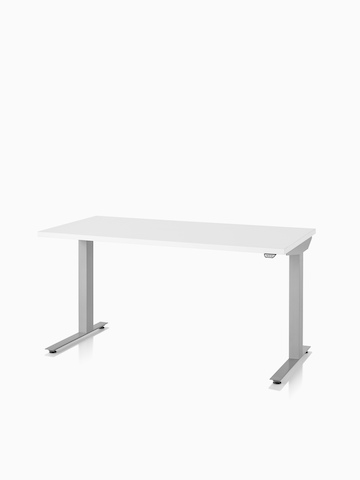 A Nevi standing desk with a white surface and silver legs.