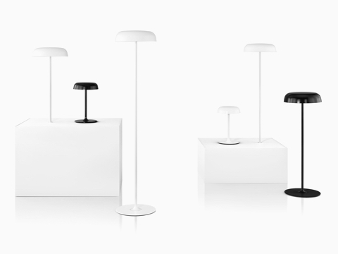 Three Ode Lamps—a white surface-integrated lamp, a black table lamp, and a white floor lamp.