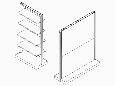 Line drawings of an OE1 Agile Wall with full shelves and OE1 Agile Wall fully cladded.