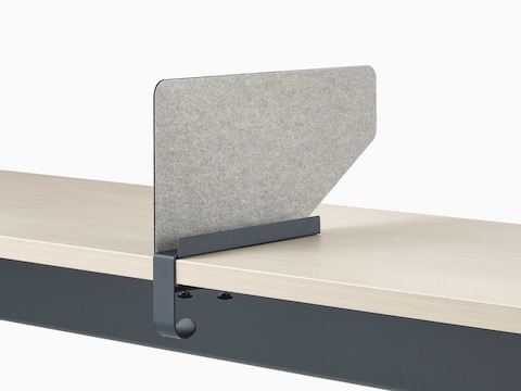 Grey OE1 Boundary Screen with liner on a white OE1 Rectangular Table, viewed from an angle.