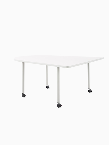 An OE1 Huddle Table with white surface and grey legs, viewed from an angle.