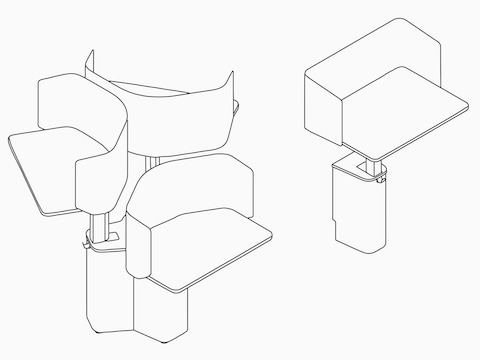 Line drawings of an OE1 Micro Pack in a 3-pack configuration and single-pack configuration.