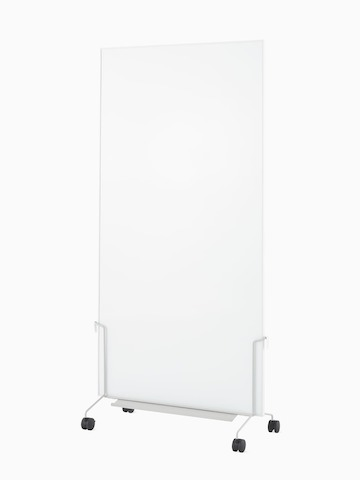A grey OE1 Mobile Easel with a marker board, viewed from an angle.