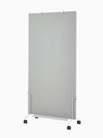A grey OE1 Mobile Easel with grey fabric project board, viewed from an angle.