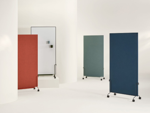 Red, grey, light blue and dark blue OE1 Mobile Easels with fabric and marker boards.