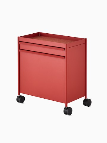 Red OE1 Storage Trolley with casters, viewed from an angle.