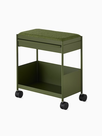 Green, individual OE1 Storage Trolley with casters, viewed from an angle.