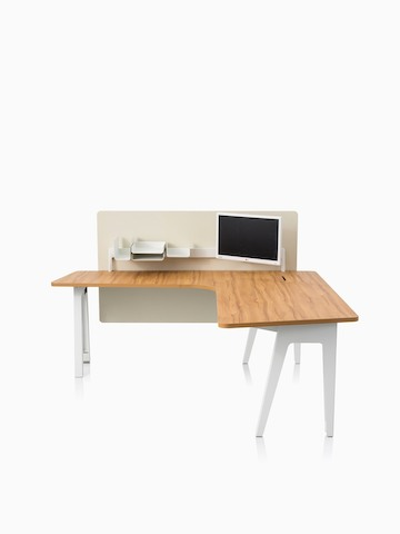 An Optimis meeting table with a white frame and a laminate top in a medium wood finish, viewed from the front.