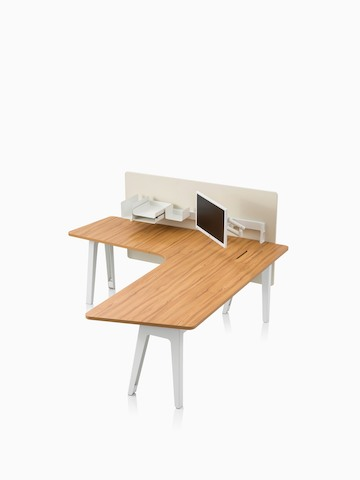 An Optimis meeting table with a white frame and a laminate top in a medium wood finish, viewed at an angle. Select to go to the Optimis Desking System product page.