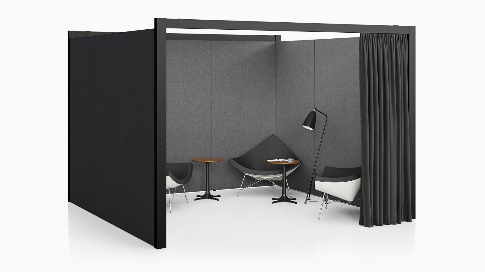 A three-sided Overlay space with gray tackable fabric exterior walls and a black curtain with three chairs and three side tables inside.