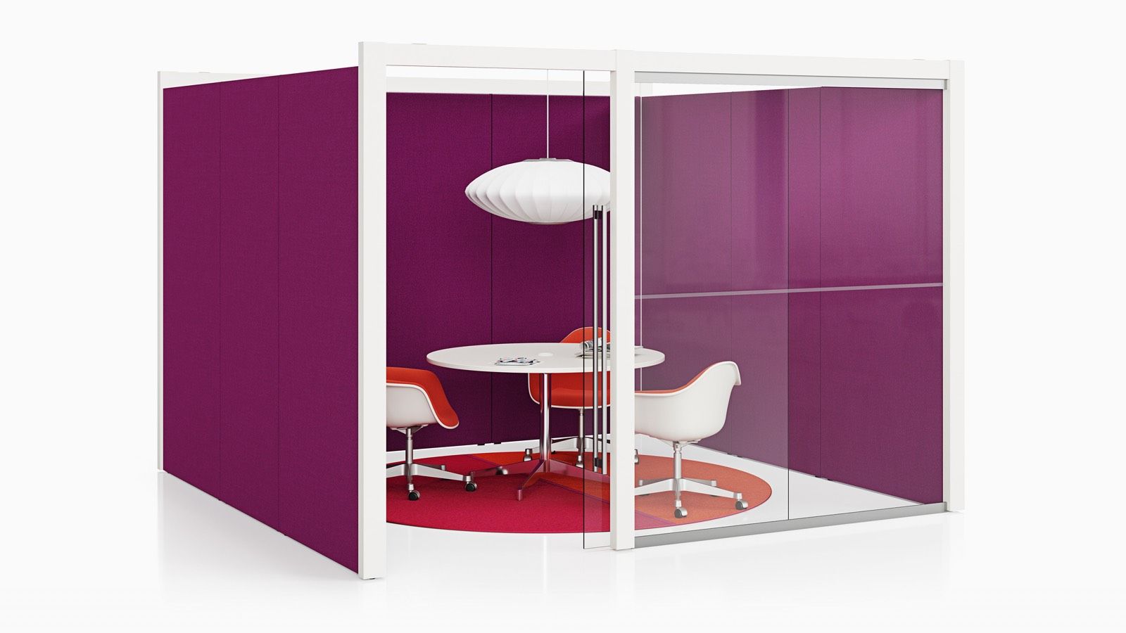 An enclosed Overlay room with purple tackable fabric and glass exterior walls with three chairs and a table inside.