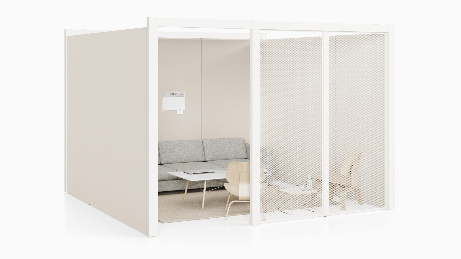 A semi-enclosed Overlay room with an off-white tackable fabric and white perforated metal exterior walls with a couch, tables, and two chairs inside.