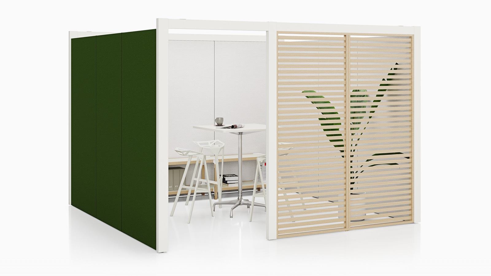 A semi-enclosed Overlay room with green tackable fabric and birch wood slat exterior walls with three stools and a table inside.