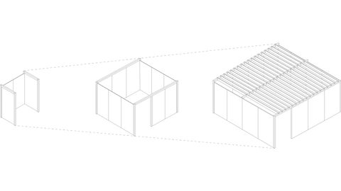 A graphic of a three-sided Overlay space, an enclosed Overlay room, and an enclosed Overlay room with the trellis.