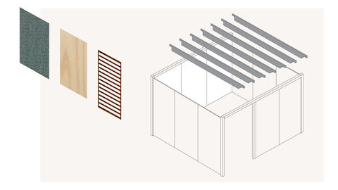 A graphic of a deconstructed, enclosed Overlay room with three walls next to each other and a gray trellis floating above the room.