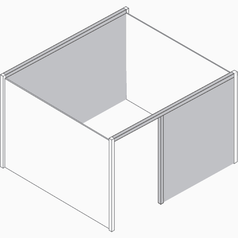 A graphic of an enclosed Overlay room. The back and front walls are colored gray to identify the spanner zones.